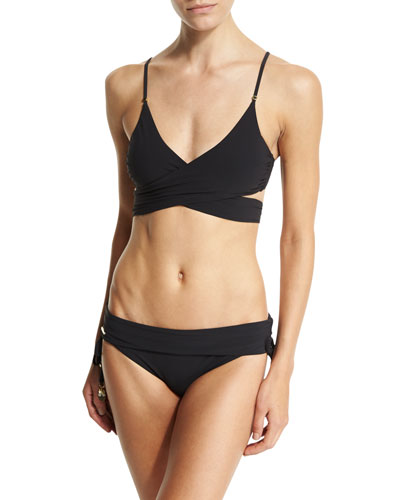 Timeless Basics Wrap Swim Top, Black & Timeless Basics Fold-Over Swim Bottom, Black