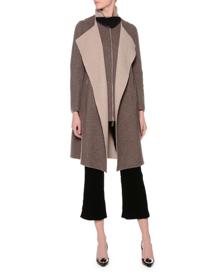 Giorgio ArmaniReversible Long Belted Vest, Papyrus