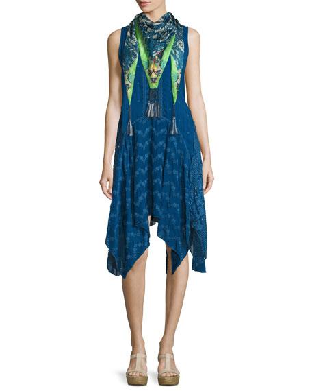 Johnny Was Windmill Sleeveless Embroidered Dress, Bluebird