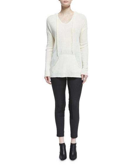 Hooded V-Neck Pullover Sweatshirt, Chalk