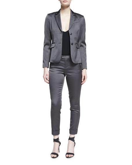 Stretch Satin Two-Button Blazer, Dark Gray