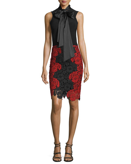 Alice + Olivia Farrel Floral-Lace Pencil Skirt, Black/Red