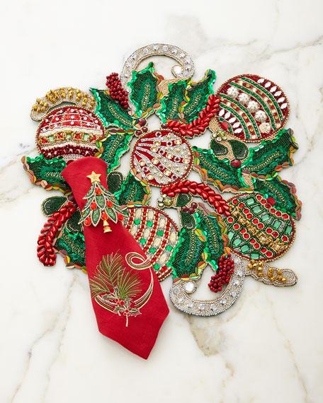 Kim Seybert Hollyday Placemat Red Pine Sprig Napkin