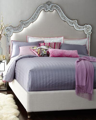 Venetian Mirrored Beds, Mystique Dresser, & Swirl Venetian Mirror