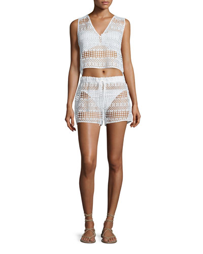 Crocheted V-Neck Coverup Top & Crocheted Drawstring Coverup Shorts