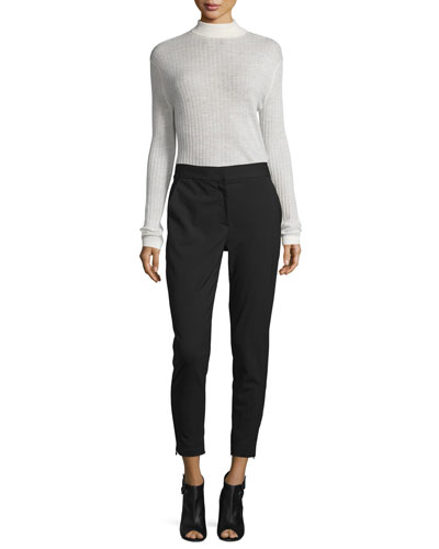 Ribbed Wool-Blend Turtleneck Top & Cropped Tailored Relaxed Pants