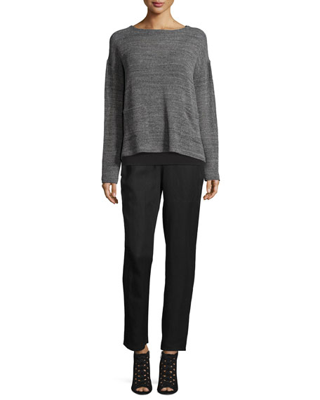 Eileen Fisher Melange Mesh Boxy Sweater, Ash