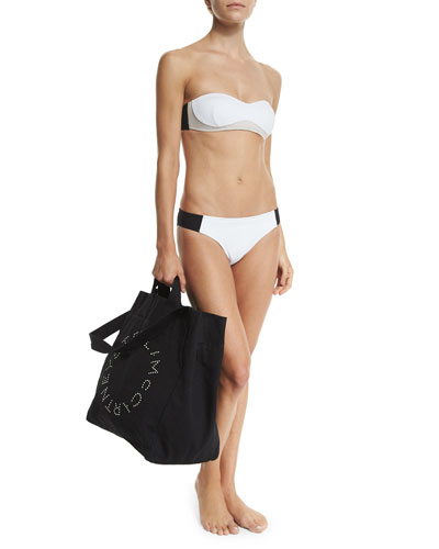 Miracle Colorblock Bandeau Swim Top, Miracle Colorblock Classic Swim Bottom & Logo Print Canvas Beach Tote Bag