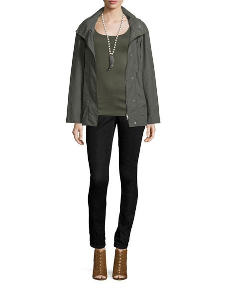 Eileen FisherHooded Zip-Front Jacket W/Stand Collar