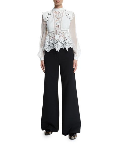 Self Portrait Floral-Lace Long-Sleeve Top, Cream