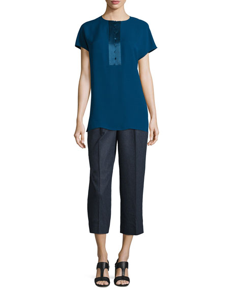Lafayette 148 New YorkAzalea Short-Sleeve Half-Placket Silk