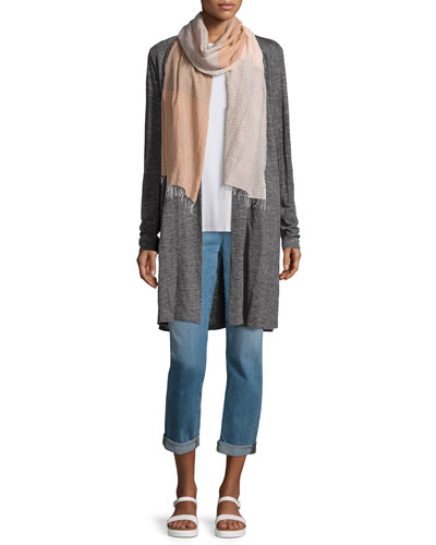 Speckle Knit Draped Long Cardigan, Jersey Long Tank, Scarf & Stretch Boyfriend Jeans, Plus Size