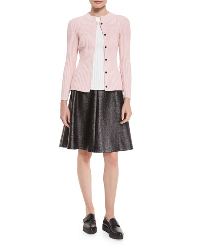 Laminated Boucle Full Skirt, Ribbed Sleeveless Sweater & Ribbed Button-Front Cardigan