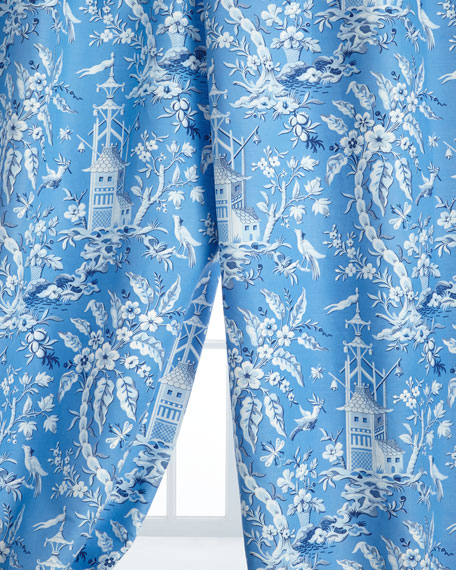 "Two 50"" x 96""L Pagoda Garden Toile Curtains"