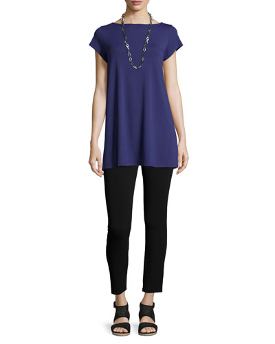 Cap-Sleeve Jersey Tunic & Tapered Ankle Leggings