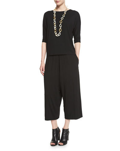 Half-Sleeve Jersey Top  & Cropped Pants