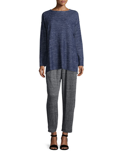 Terry Slub Terry Tunic & Speckle Knit Slouchy Ankle Pants