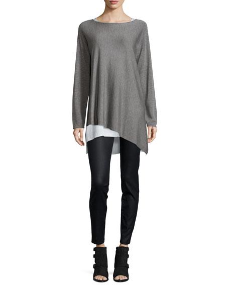 Eileen Fisher Merino-Knit Ballet-Neck Top, Pewter, Plus Size