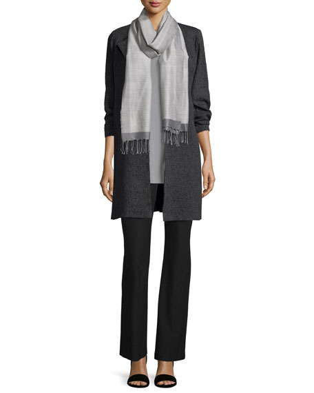 Eileen Fisher3/4-Sleeve Shale Jacquard Jacket, Charcoal, Plus