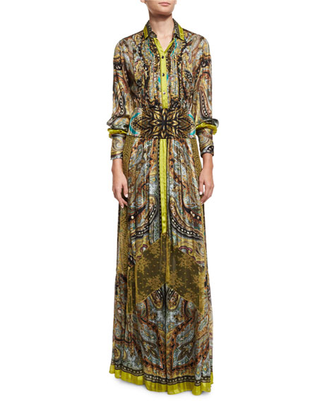 Etro Pleated Paisley Button-Front Tunic, Citrine