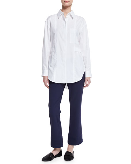 GREY Jason WuRelaxed Long-Sleeve Button-Front Poplin Shirt, Optic