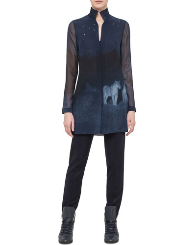 Night Lion-Print Silk Tunic & Melissa Stretch-Flannel Pants