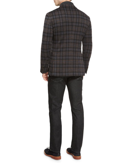 Wool Plaid Blazer, Blue Pattern