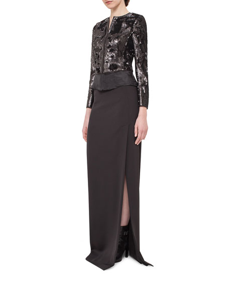 Sequined Zip-Front Jacket, Black