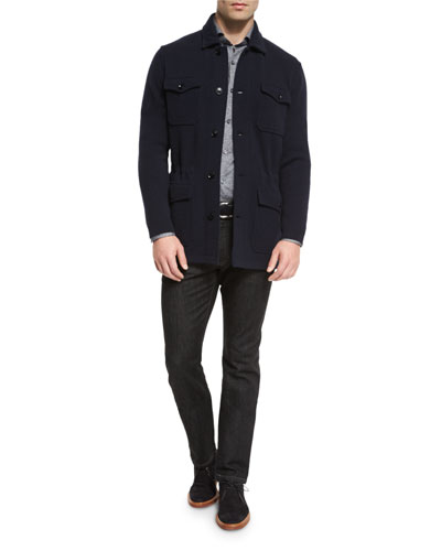 Floral-Print Long-Sleeve Sport Shirt, Five-Pocket Stretch-Denim Jeans, Wool/Cashmere-Blend Jersey Field Jacket,
