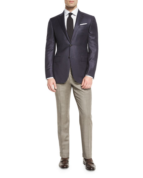 Check Two-Button Sport Coat, Navy/Camel