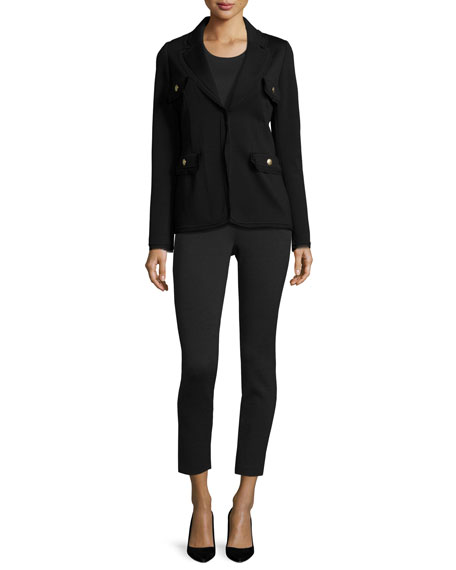 St. John Collection Frayed-Trim Knit Jacket, Black