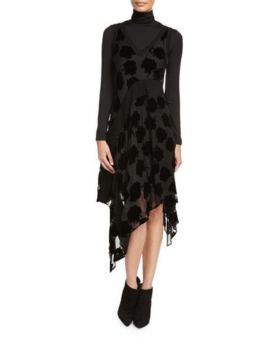 Long-Sleeve Jersey Turtleneck Bodysuit & Sleeveless Velvet Leaf Midi Dress