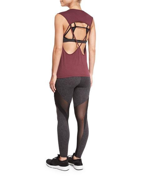 Frame Mesh-Panel Sport Leggings, Dark Gray Heather/Black