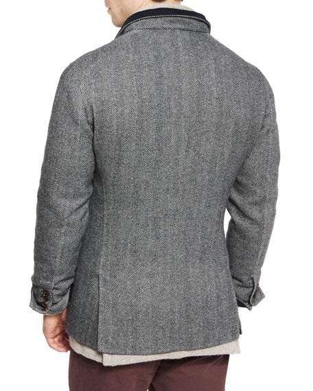 Double-Face Wool-Blend Blazer, Medium Gray/Cobalt