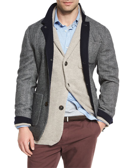 Brunello CucinelliDouble-Face Wool-Blend Blazer, Medium Gray/Cobalt