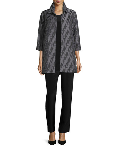 3/4-Sleeve Diamond Jacquard Topper, Crepe Tunic/Tank & Silk Crepe Straight-Leg Pants