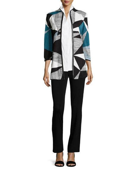 Colorblock Jacket W/ Faux-Leather-Trim, Teal/Black/Ivory Onsale