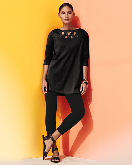 3/4-Sleeve Yoke-Cutout Tunic, Plus Size