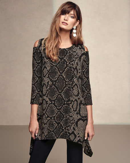 Rattle & Roll Cold-Shoulder Animal-Print Tunic, Petite