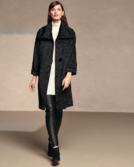 Playful Persian Faux-Fur Coat, Petite