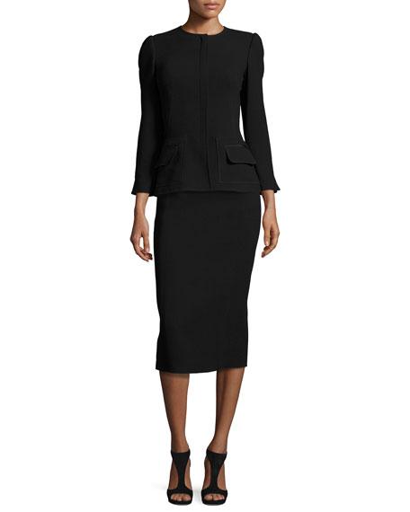 Oscar de la RentaFlap-Pocket 3/4-Sleeve Jacket, Black