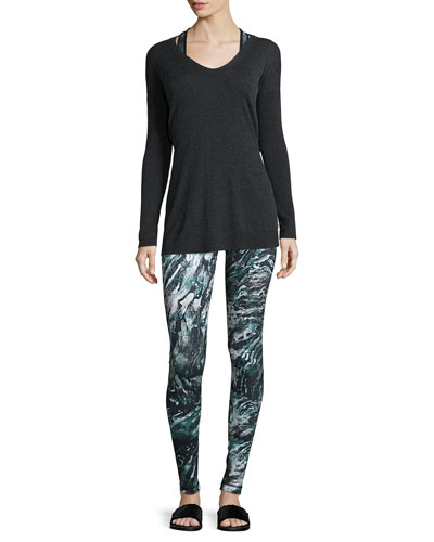 Printed Maverick Sports Bra, Printed Core Athletic Leggings & Shavasana Reversible Sweater
