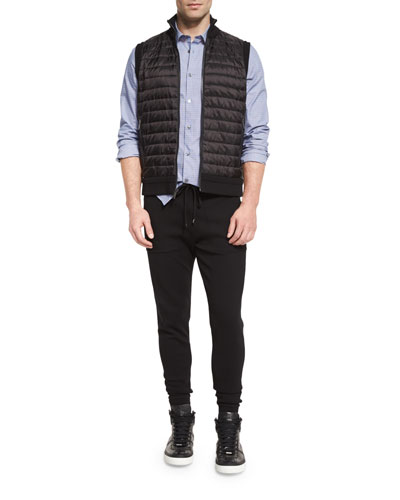 Padded Vest, Reagan Slim-Fit Dobby-Print Sport Shirt & Techy Milano Jogger Pants