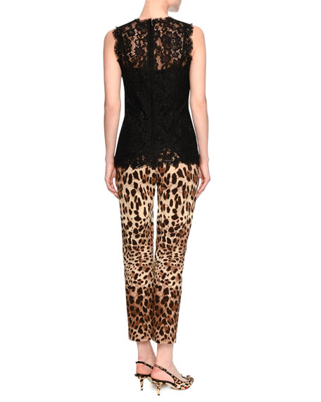 Floral-Lace Sleeveless Shell, Black