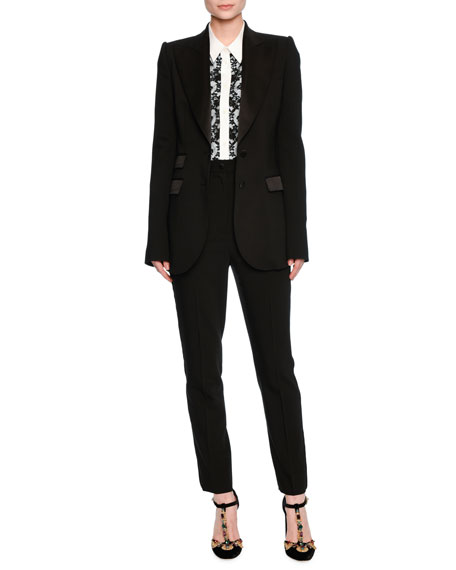 Turlington Satin-Trim Two-Button Jacket, Black
