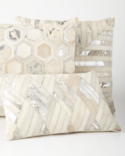 Silver Cowhide Pillows