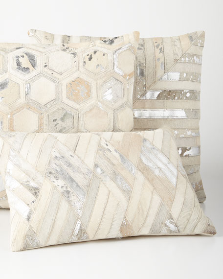 Silver Cowhide Oblong Pillow