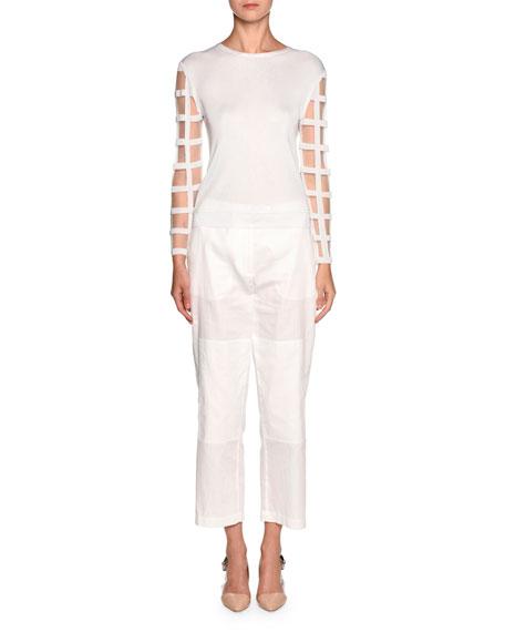 Windowpane-Sleeve Knit Sweater, White