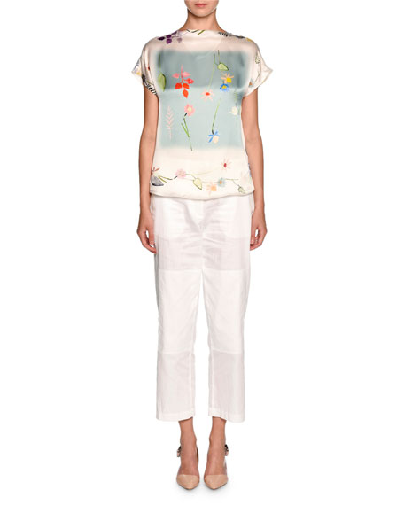 Floral Short-Sleeve Chiffon Tee, White/Multi