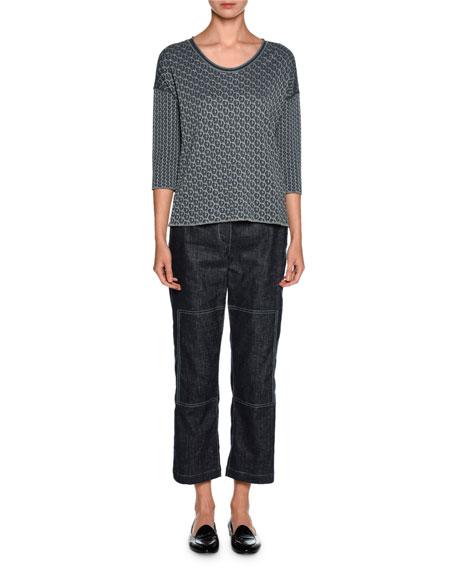 Reversible Leopard-Print 3/4-Sleeve Sweater, Dark Gray